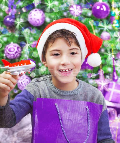 Boy enjoying Christmas gift Stock photo © Anna_Om