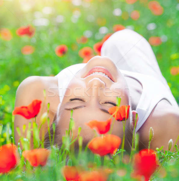 Relaxation on poppy flower field Stock photo © Anna_Om