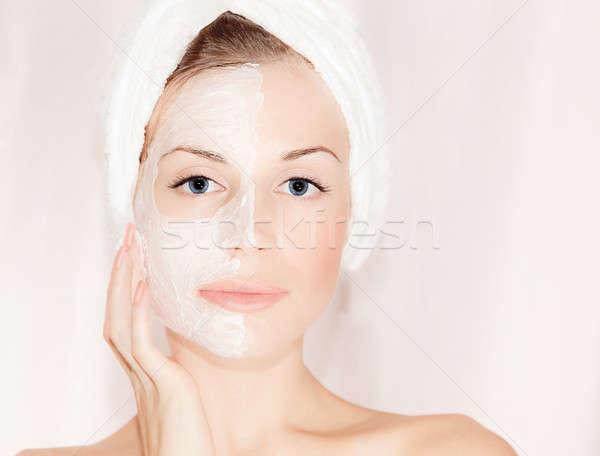 Maszk gyönyörű arc közelkép portré női Stock fotó © Anna_Om