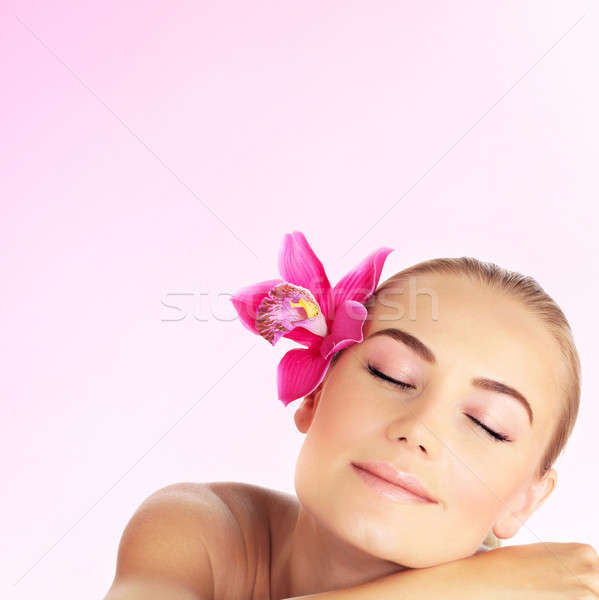 Stock photo: Young woman at spa salon