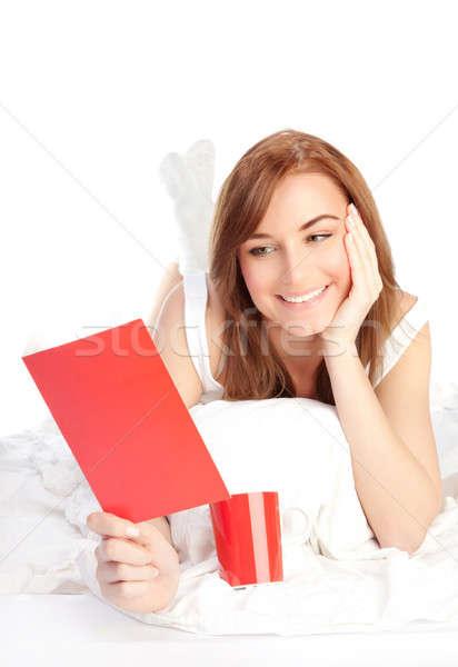 Girl reading romantic Valentine card Stock photo © Anna_Om