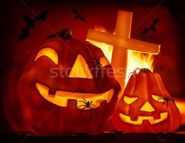 Halloween inferno ardente fogo arrepiante Foto stock © Anna_Om