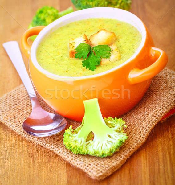 好吃 西蘭花 奶油 湯 香菜 擔任 商業照片 © Anna_Om