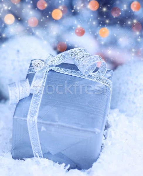 Présents coffret cadeau hiver vacances bleu argent Photo stock © Anna_Om