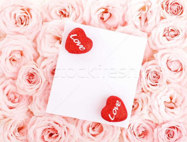 Stock foto: Schönen · Rosen · Geschenkkarte · Herzen · rosa · frischen