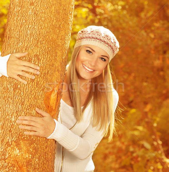 счастливая девушка осень парка фото Cute Сток-фото © Anna_Om