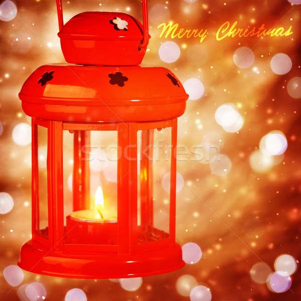 Hermosa Navidad linterna rojo colgante Foto stock © Anna_Om