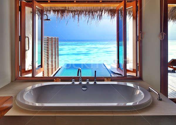 Luxe intérieur plage Resort belle design d'intérieur Photo stock © Anna_Om