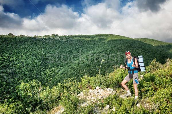Traveler girl in the mountains Stock photo © Anna_Om
