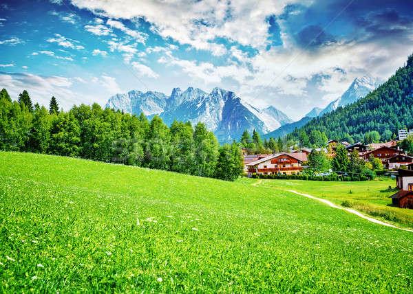 Gyönyörű kicsi falu kilátás öreg gazdálkodás Stock fotó © Anna_Om