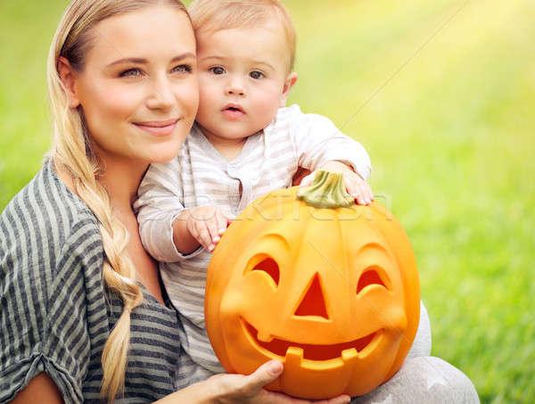 Családi portré halloween nap portré szép anya Stock fotó © Anna_Om
