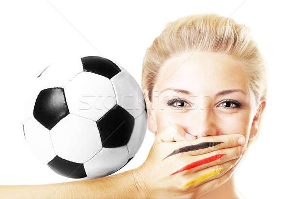 Сток-фото: портрет · довольно · футбола · вентилятор · мяча