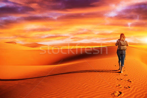 Woman traveling in the desert Stock photo © Anna_Om