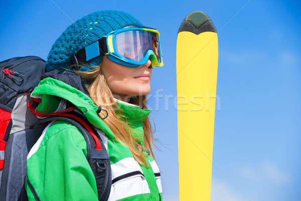Narciarz dziewczyna portret cute maska Zdjęcia stock © Anna_Om