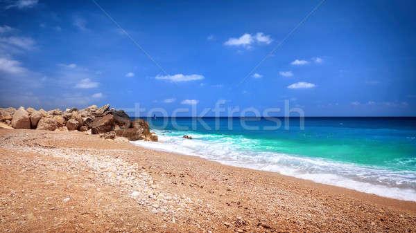 Foto d'archivio: Bella · spiaggia · panorama · panoramica · scena
