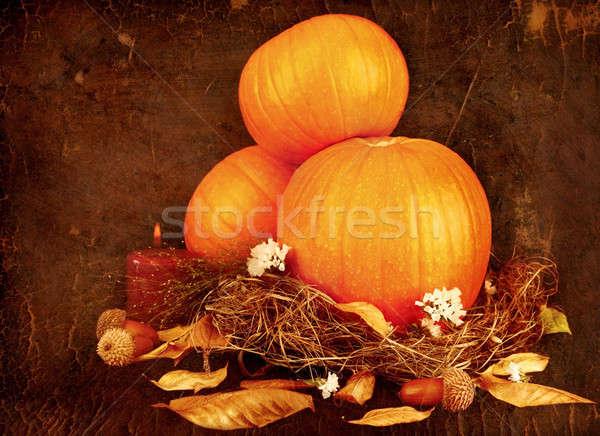 Photo stock: Action · de · grâces · vacances · carte · de · vœux · orange · fleur · alimentaire