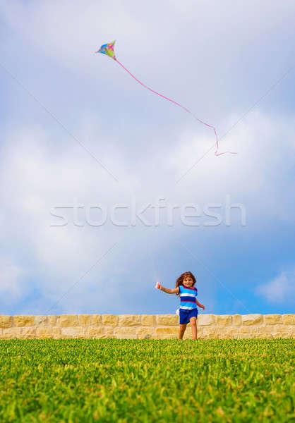 Sweet little girl running with kite Stock photo © Anna_Om