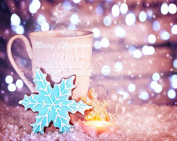 聖誕節 咖啡 白 杯 藍色 雪花 商業照片 © Anna_Om