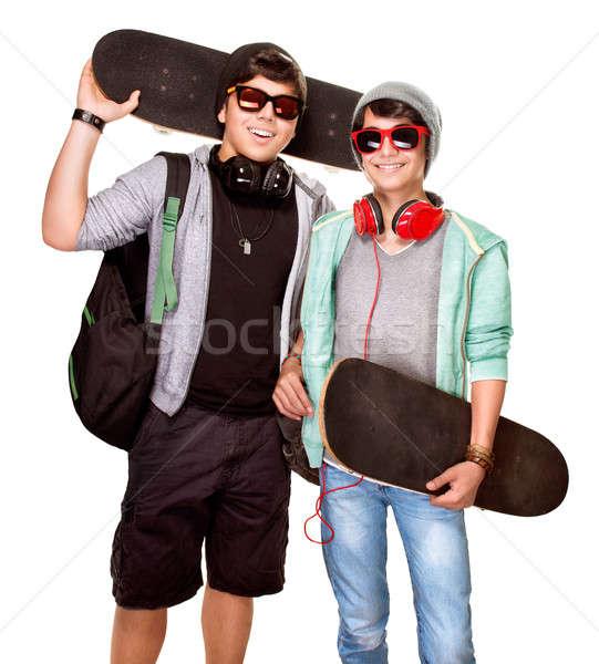 Happy skateboarders Stock photo © Anna_Om