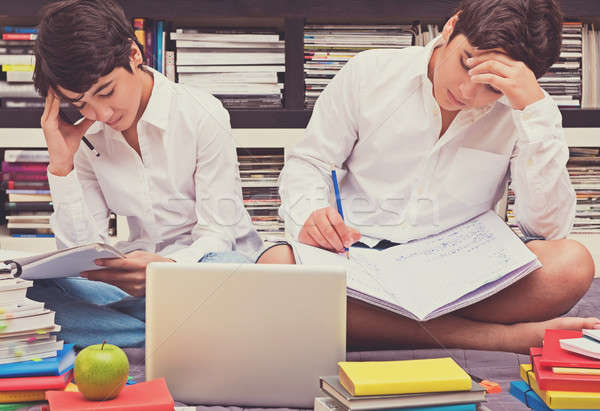 Two schoolboys in the library Stock photo © Anna_Om