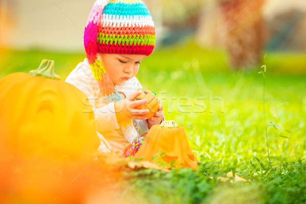 Cute baby playing with Halloween pumpkins Stock photo © Anna_Om