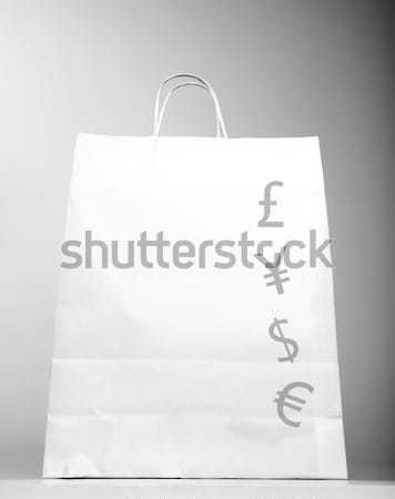 Bevásárlószatyor pénz felirat fotó fehér izolált Stock fotó © Anna_Om