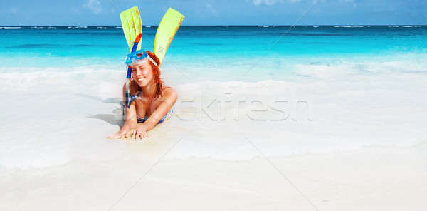 Happy diver girl Stock photo © Anna_Om