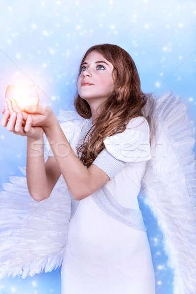красивой ангела молиться , держась за руки свечу Сток-фото © Anna_Om