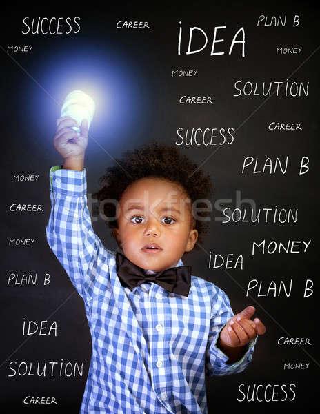 天才 肖像 アフリカ 少年 電球 ストックフォト © Anna_Om