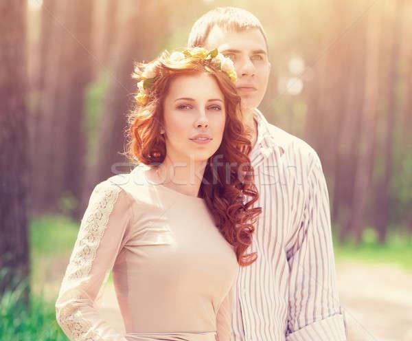 Belo sonhador casal retrato floresta brilhante Foto stock © Anna_Om