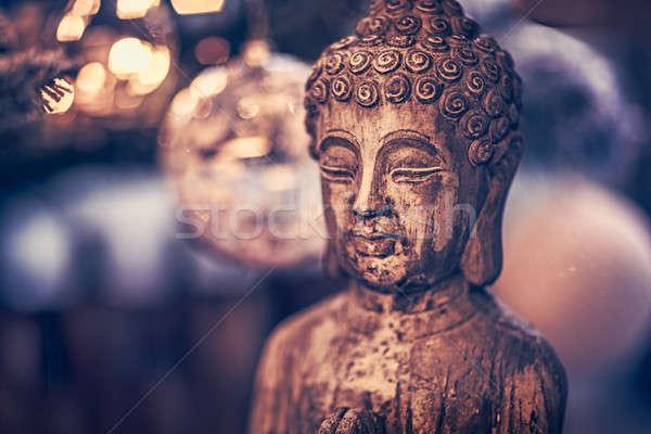 Buddha vintage stile foto legno statua Foto d'archivio © Anna_Om