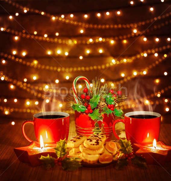 Karácsony sütik fotó gyönyörű csendélet piros Stock fotó © Anna_Om