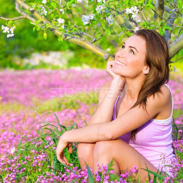 álomszerű nő virágzó park közelkép portré Stock fotó © Anna_Om