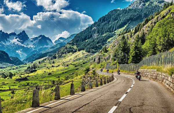 Group of bikers touring European Alps  Stock photo © Anna_Om