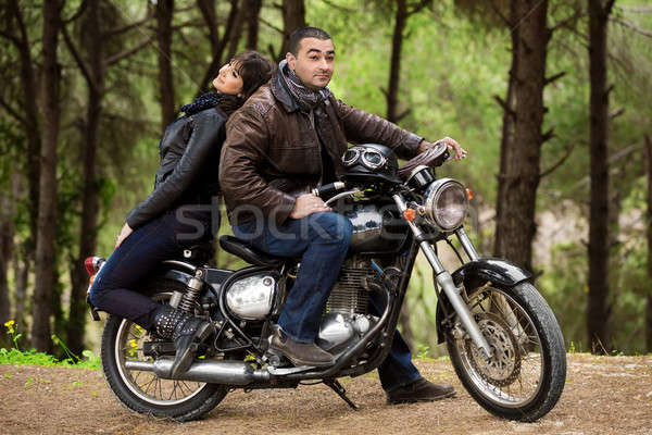 Bikers couple resting Stock photo © Anna_Om