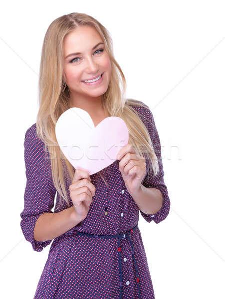 Boldog romantikus lány portré aranyos papír Stock fotó © Anna_Om