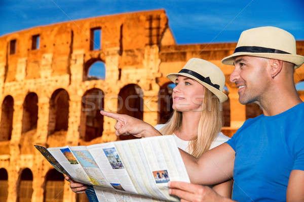 Utazás Róma gyönyörű aktív pár térkép Stock fotó © Anna_Om