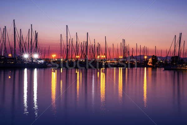 Porto sera sagome lusso vela porta Foto d'archivio © Anna_Om