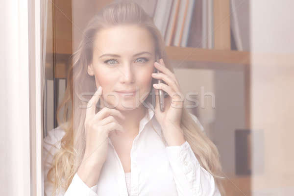 Woman on the phone Stock photo © Anna_Om