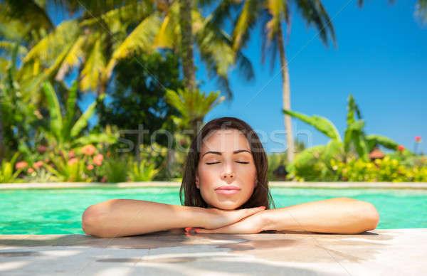 Calm female in the pool Stock photo © Anna_Om