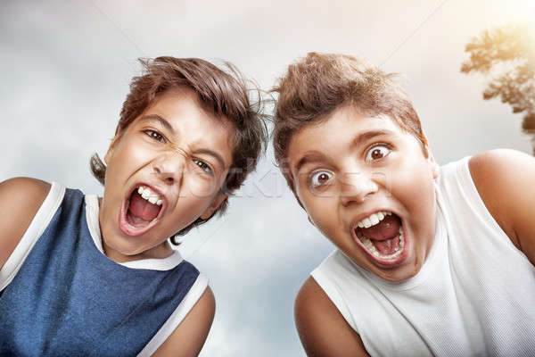 Portrait of a two crazy boys Stock photo © Anna_Om