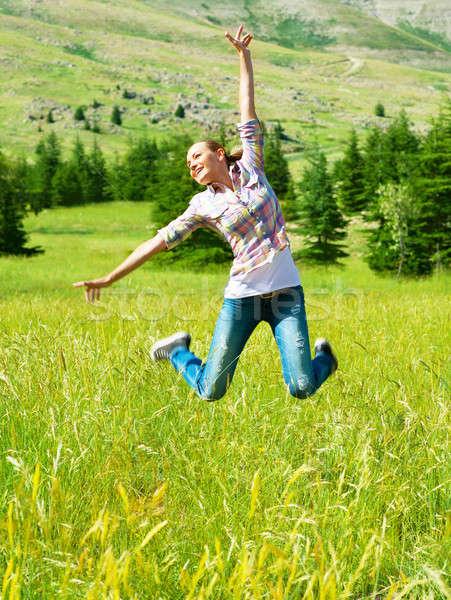 Stock fotó: Aktív · sportos · nő · ugrik · kint · gyönyörű