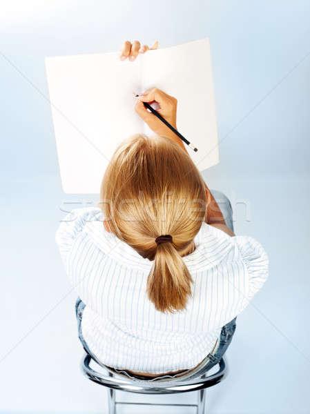 Estudante menina exames sala de aula bonitinho aluna Foto stock © Anna_Om