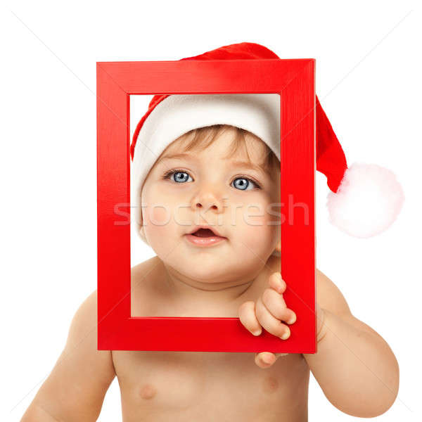 Child dressed in red Christmas hat Stock photo © Anna_Om