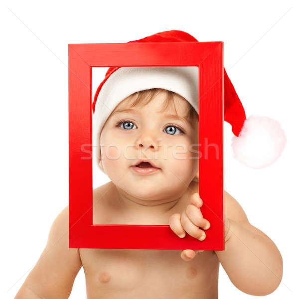 Сток-фото: ребенка · красный · Рождества · Hat · фото · Cute