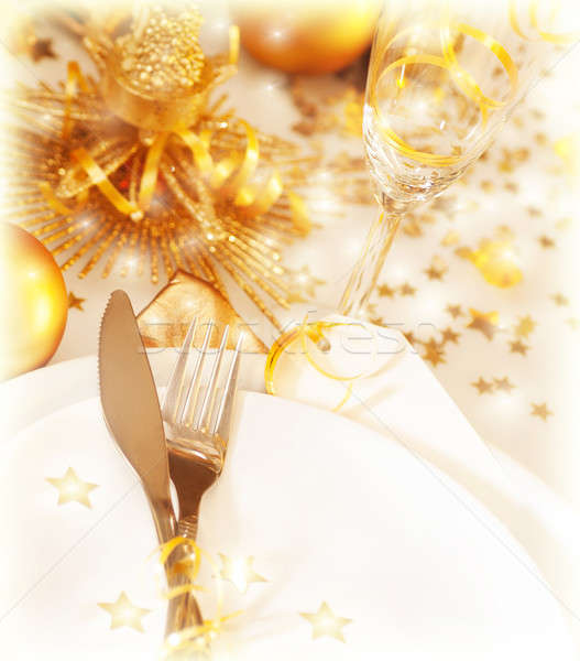 Golden table decoration Stock photo © Anna_Om