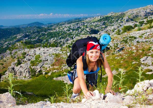 Teen girl climb on mountain Stock photo © Anna_Om