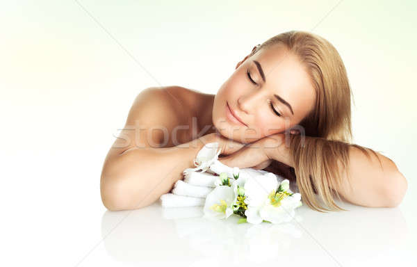 Gentle female at spa salon Stock photo © Anna_Om