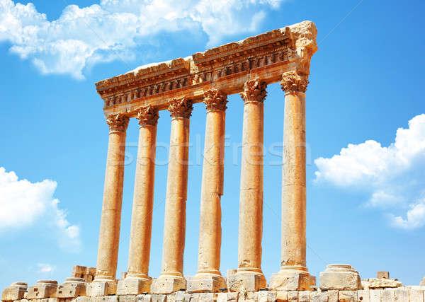 Templom Libanon ősi római oszlopok égbolt Stock fotó © Anna_Om