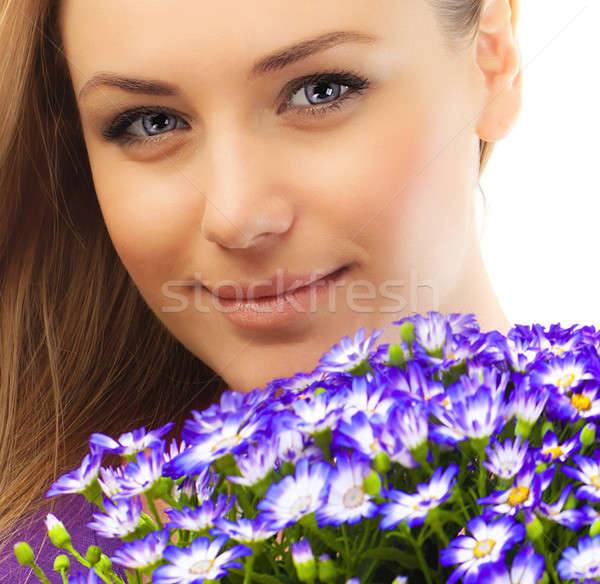 Stock photo: Beautiful female face with flowers